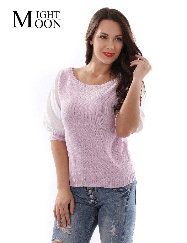 MOONIGHT Autumn 2019 Women Fashion Short Sweater Pullover Half Sleeve Women Sweaters and Knitwear