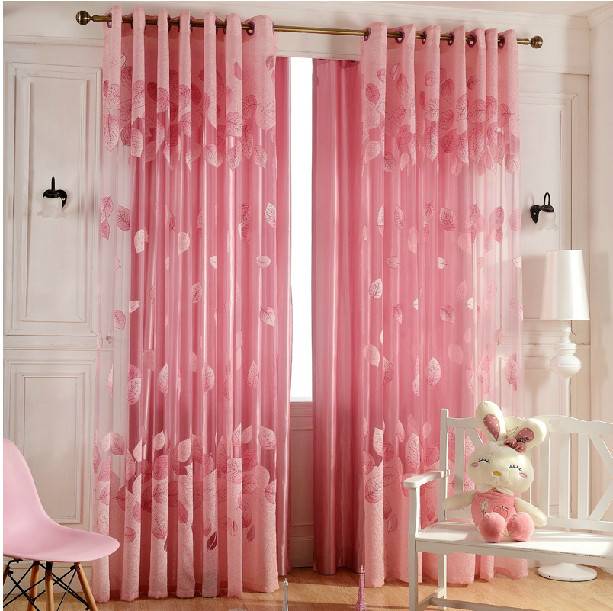 3color new style fashion tulle sheer curtains romantic leaf design pink curtain window screen. Black Bedroom Furniture Sets. Home Design Ideas