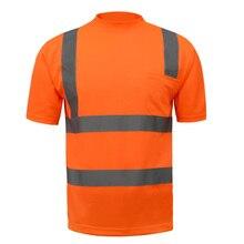 Pomarańczowy o wysokiej widoczności t shirt bezpieczeństwa odblaskowe koszula z odblaskowe paski