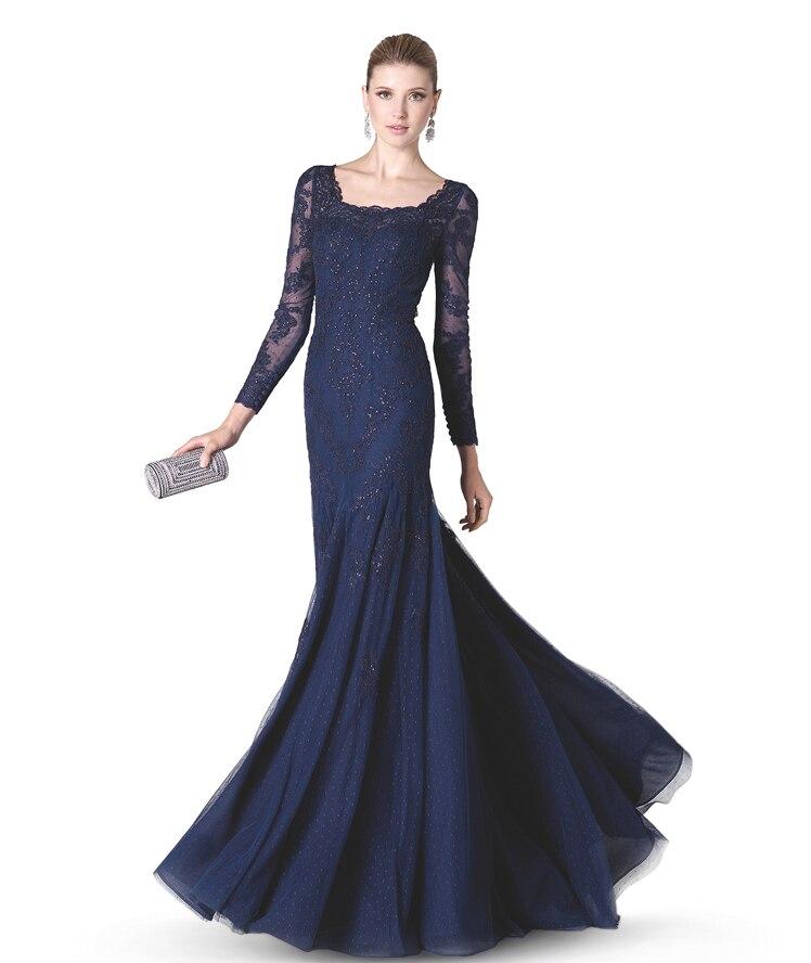 Long Sleeves Evening Dresses Dark Blue Evening Gowns Bateau Neck ...