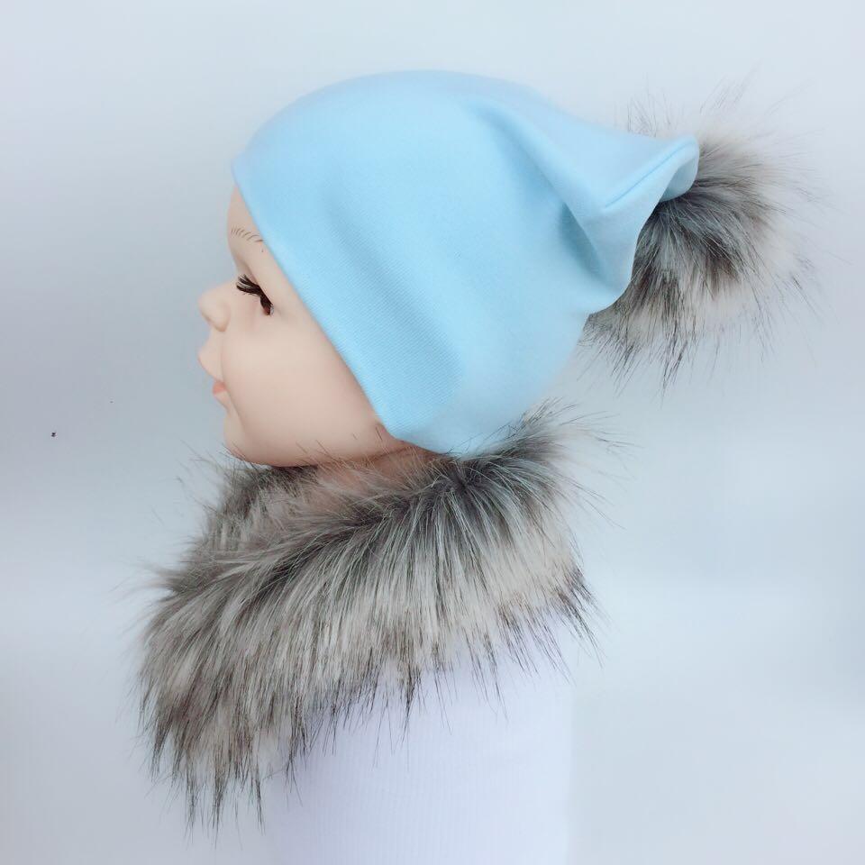 2018 scarf hat glove sets kids hat bonnet raccoon pompom Faux Fur baby hat baby fur collar cap beanie baby pom pom newborn props ...