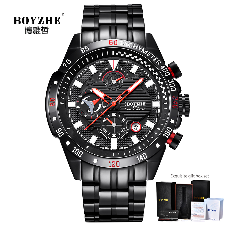 BOYZHE Sports Automatic Watch Men Stainless Steel Chronograph Mens Mechanical Watches Auto Date Luxury Brand montre