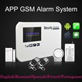 English Russian Spanish French Wireless wired Home Security GSM Alarm System with Relay IOS Android APP Sensor Alarm