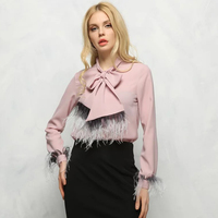 New Real Ostrich Feather Chiffon Womens Tops And Blouses Shirt Bow Loose Blouses Female Long Sleeve Solid Black Women's Shirts