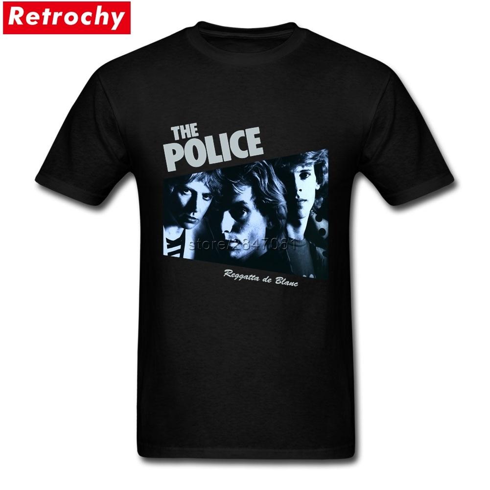 À la mode La Police Reggatta de Blanc Hommes T-shirts À Manches Courtes Graphique Spandex Coton Rock Band T-shirts Les Gars Hip Hop T-shirts