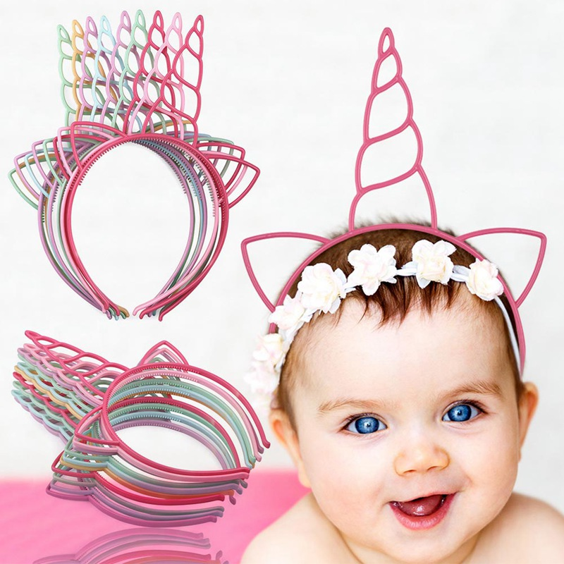 12 Pcs Candy Girls Unicorn Headband My Little Baby Headbands Party Hair Accessories Hair Hoop Princess Plastic Unicorn Headband 15pcs lot stretch elastic tutu headbands diy headband hair accessories 1 5 inch crochet headband free shipping 33colors in stock