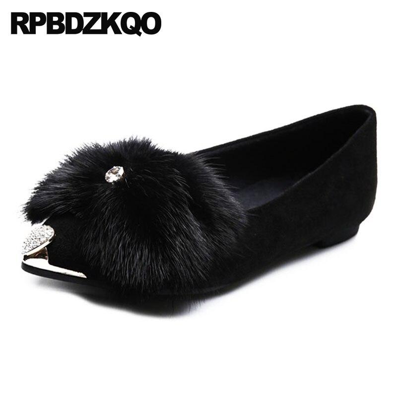 En Daim Chaussures Diamant D'hiver Strass Luxe Femmes Appartements De Fourrure Cristal Dames Métal Chine Designer Noir 2018 Chinois Pointu Bout twntv8qR1r