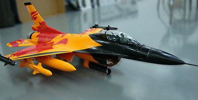Skyflight lx rc jet f-16 fighting falcon modelo arf rc avión boquilla del vector de orange w/retraer