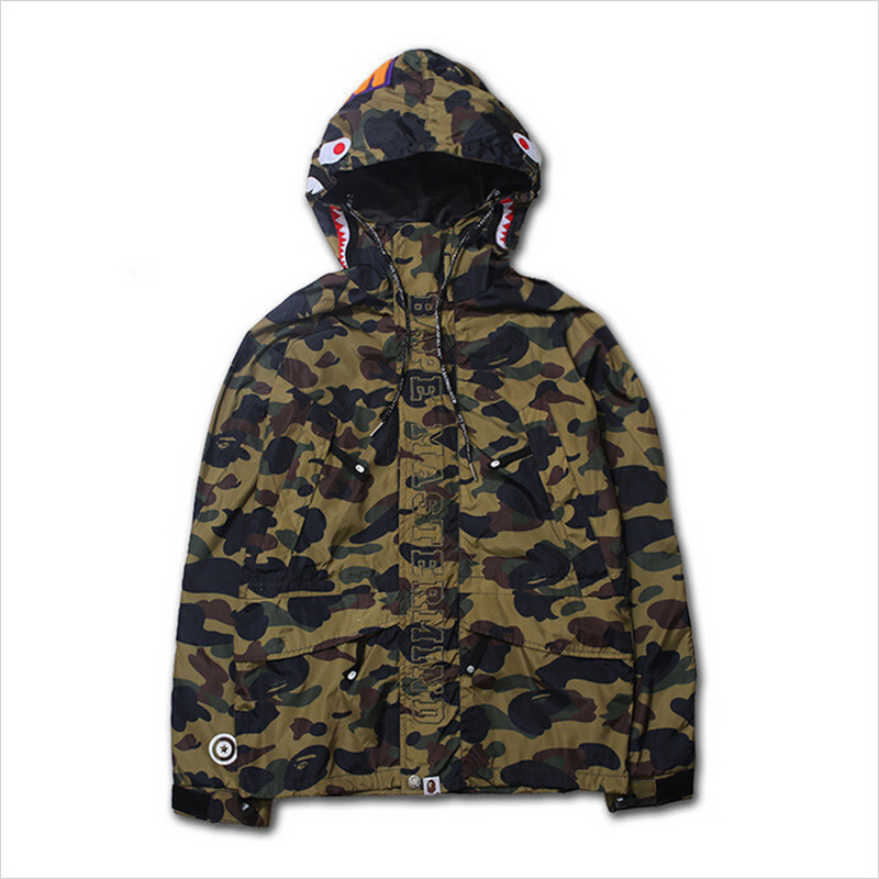 2016 New Sale Tide Brand Bape Jacket Hoodies Military Camo Camouflage Shark Hooded Windbreaker Men Streetwear Hoody Sportswear M  -  Point Mall store