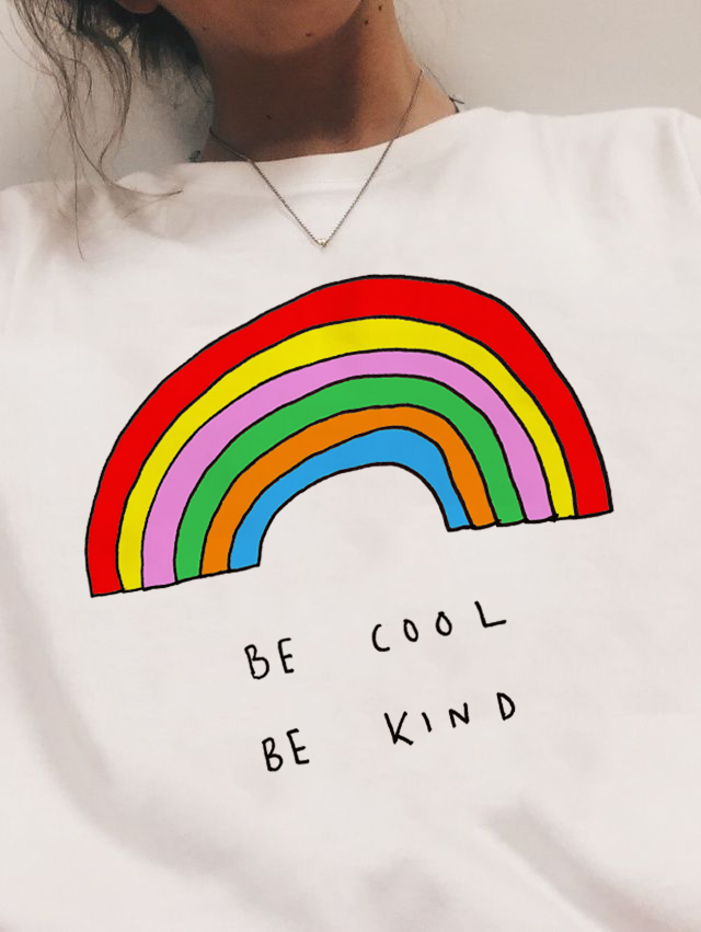 Be Cool Be Kind Rainbow   T  -  shirt   90s Fashion Tumblr Grunge Aesthetic Tee   Shirt   Women Graphic White Tee Clothes