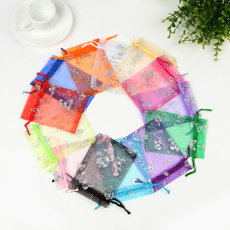 Hotsale 100pcs/lot Small Organza Bags 9x12cm Small Christmas Drawstring Gift Bag Cute Candy Jewelry Packaging Bags & Pouches