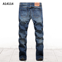 A14114 Superably Brand Blue Denim Overalls Jeans Men Pants Loose Straight Mid Waterwashed Men S Buttons