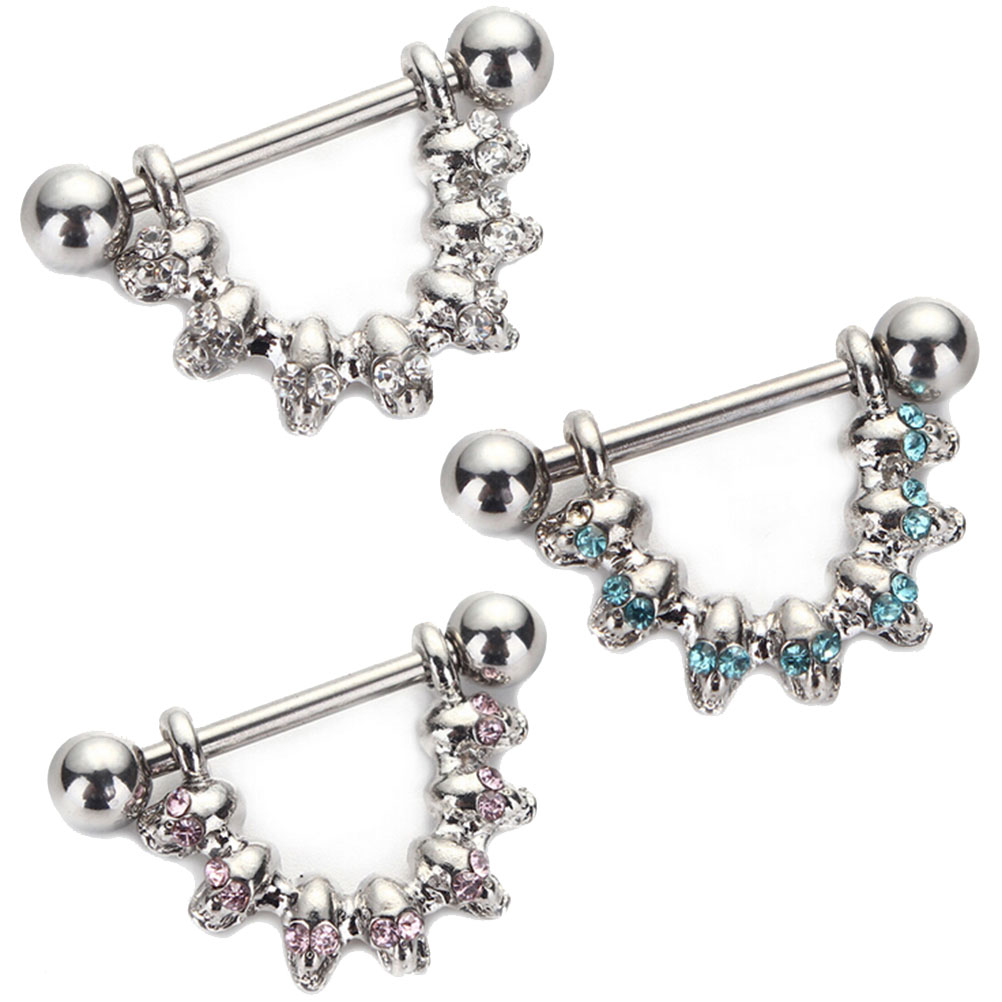 Covet Jewelry 316L Surgical Steel Slave Ring Barbell with Gem