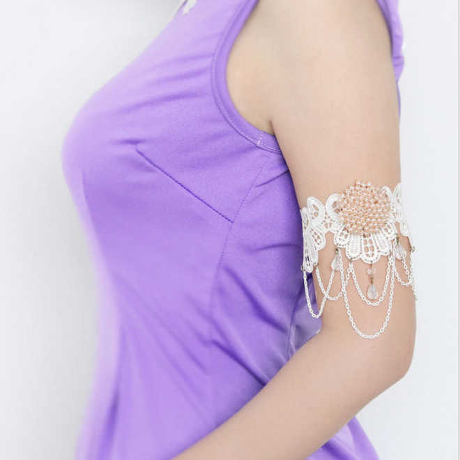 2pcs Women Crystal Chain Flower Lace Arm Band Armband Armlet Bracelet Bridal Accessories