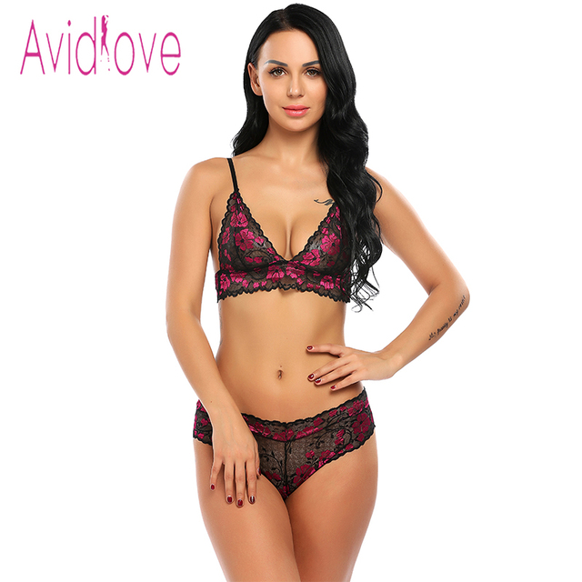 ec23568fc9 Avidlove Sexy Lace Bra Set Deep V Underwire Push Up Bralette Brief Set Sexy  Lingerie Transparent Underwear Women Bra Panties Set