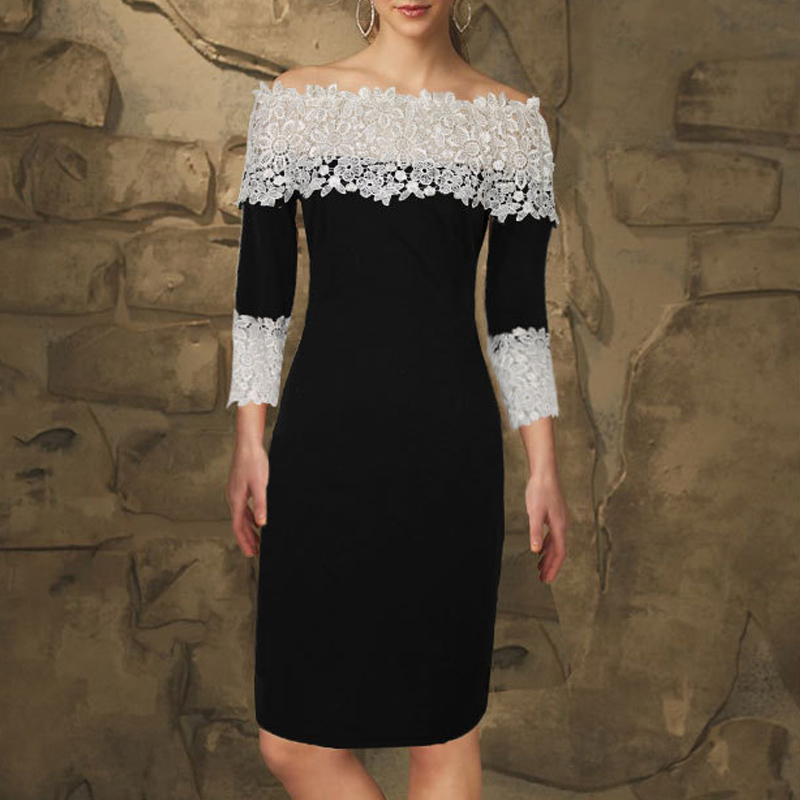 Sexy Women Off Shoulder Lace Patchwork Dress 3/4 Sleeve Slim Fit Party Office OL Dresses H9