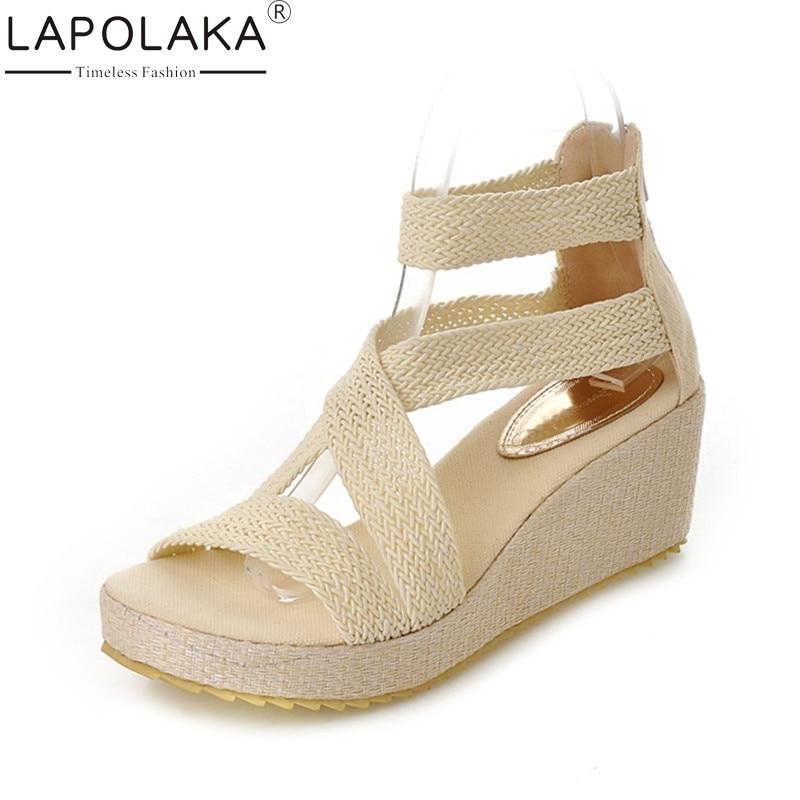 LAPOLAKA Letní elegantní obuv na podpatku Dámské sandály Velké ... e351c40560