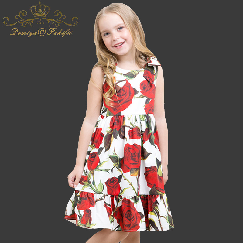 Фотография Girls Summer Dress 2018 Brand Children Clothes Girl Rose Print Dress Princess Costumes Kids Beading Dresses Toddler Robe Fille