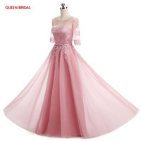 Pink Gray Champagne Blue Half Sleeve Tulle Lace Beautiful Cheap Dresses Formal Evening Dresses Long Party