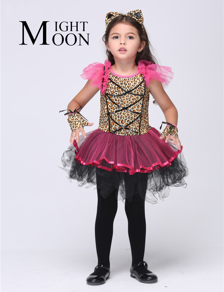 MOONIGHT Girl Leopard Lace Dress Cosplay Halloween Costumes for Kids Stage Skirt Vestido Tutu Dress Kid Carnival Party Outfit