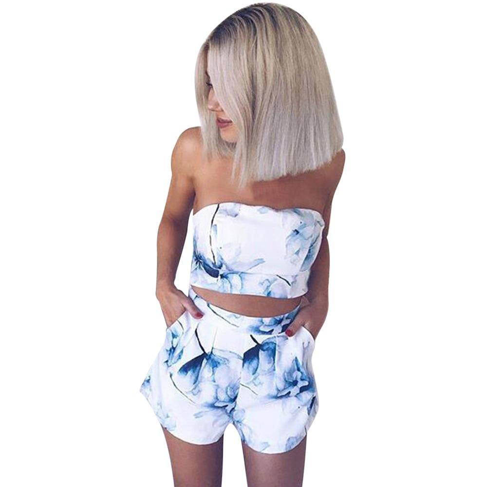 >femme 2019 Women Ladies Prints Off ShoulderShirt <font><b>Blouse</b></font> <font><b>Shorts</b></font> <font><b>Pant</b></font> 2PCS Set A0320