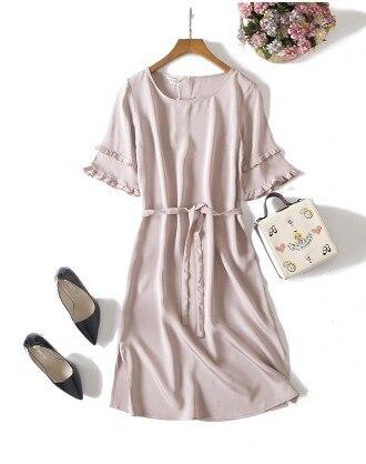 Здесь продается  2018 new high-end custom silk heavy silk crepe fabric 21 lotus pink dress    Одежда и аксессуары