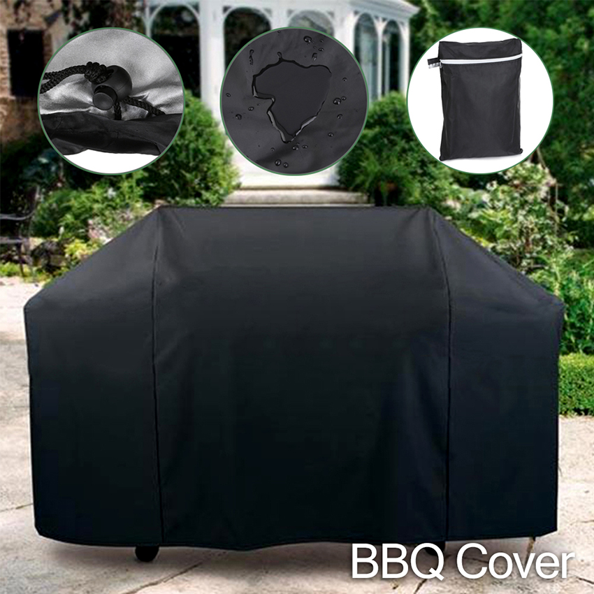 Black Waterproof BBQ Grill Cover Anti Dust Rain Proof Barbecue Protecter Drop Shipping For Gas Charcoal Electric Barbecue Bag