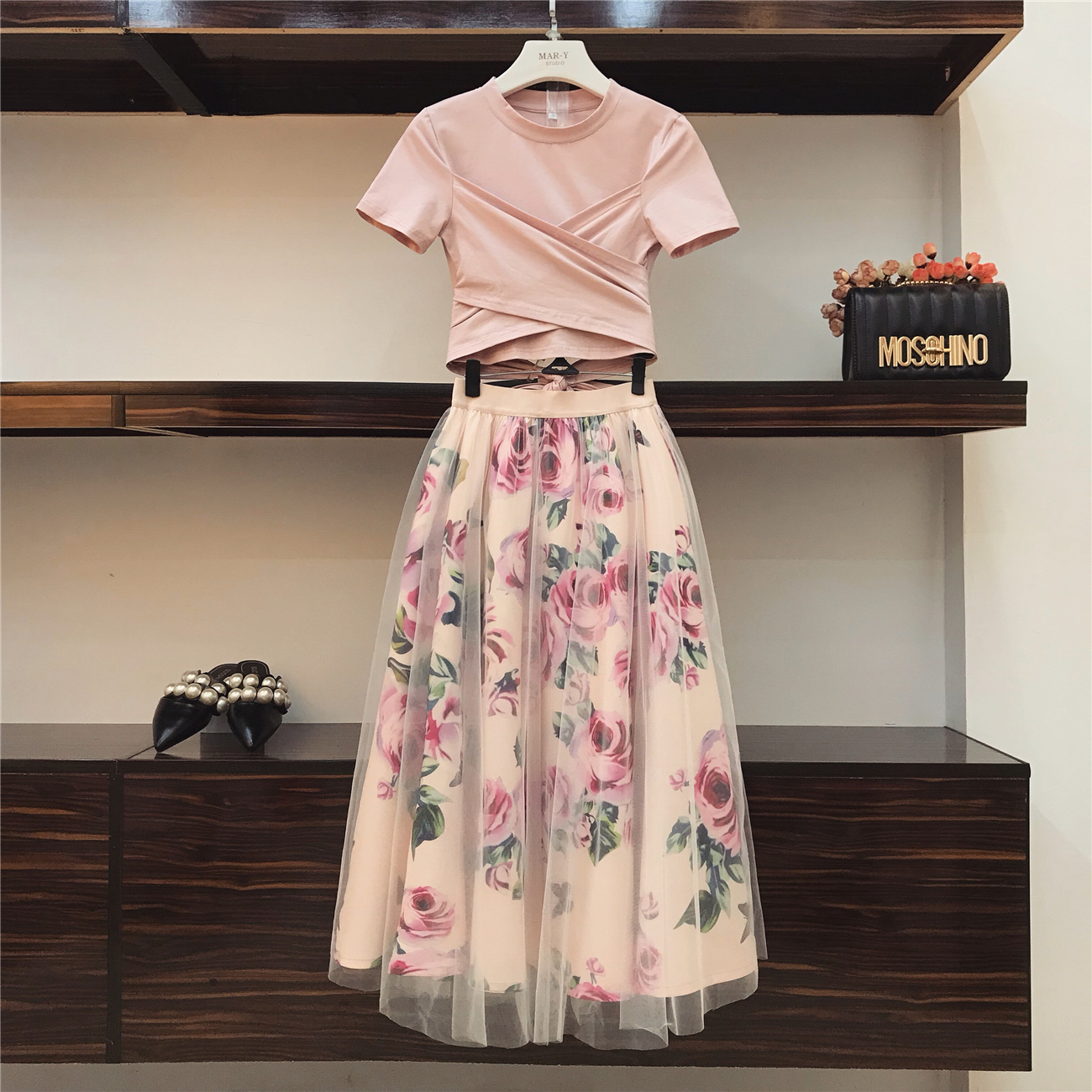 shirt Arc Pink Robes Cravate T Nouvelle D'été Imprimer noir Ensembles Sleeve pièces 2018 Croix Femmes Irrégulière Fille rose Fleur Jupe Mode Long Vintage Lady Deux xqYnwzHR