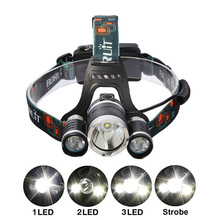With Rechargeable Battery charger T6Headlamp 6000 Lumens 3 x Cree XM T6 2R5 Lamp LED camping