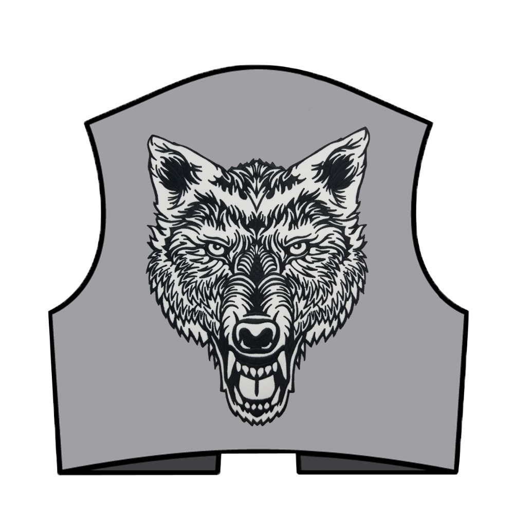 cb82adbdc1ca7 Lone Wolf Head Tattoo Reflective Embroidered Patch Biker Back Applique Iron  Sew On Badges 12 Inch High Free Shipping-in Patches from Home & Garden on  ...