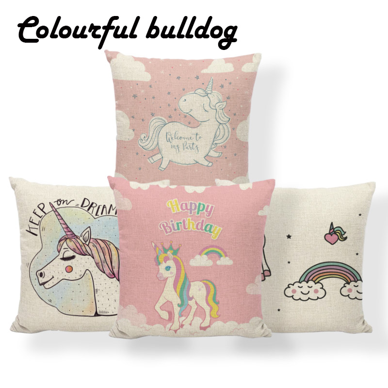 Unicorn Rainbow Cushion Case Pink High Heels Animal Cover Pillow Rustic Settee Home Decoration Throw Pillow Case 17X17 Polyester