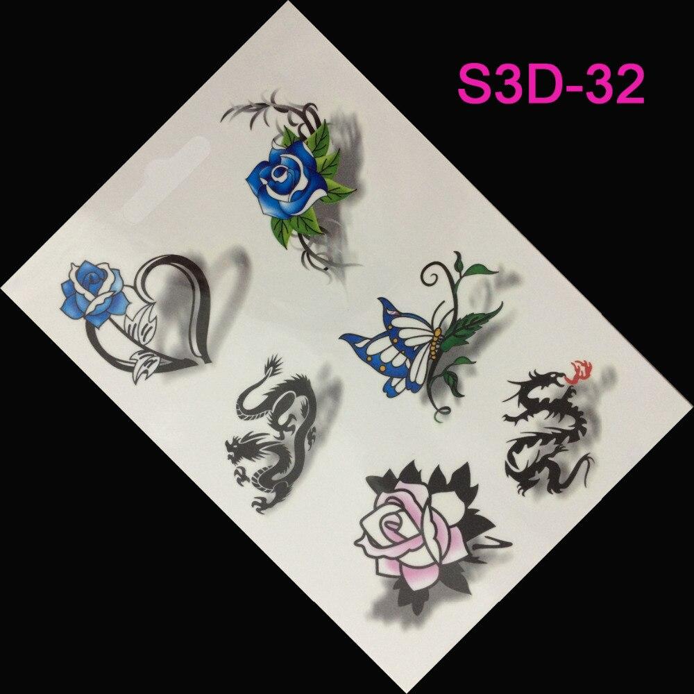 Us 068 Sprzedaż 3d Tatuaż Kobiety Niebieskie Róże Motyle Produkty Erotyczne Tymczasowy Tatuaż Tatuaże Tatuaże Body Art Flash W Tymczasowe Tatuaże