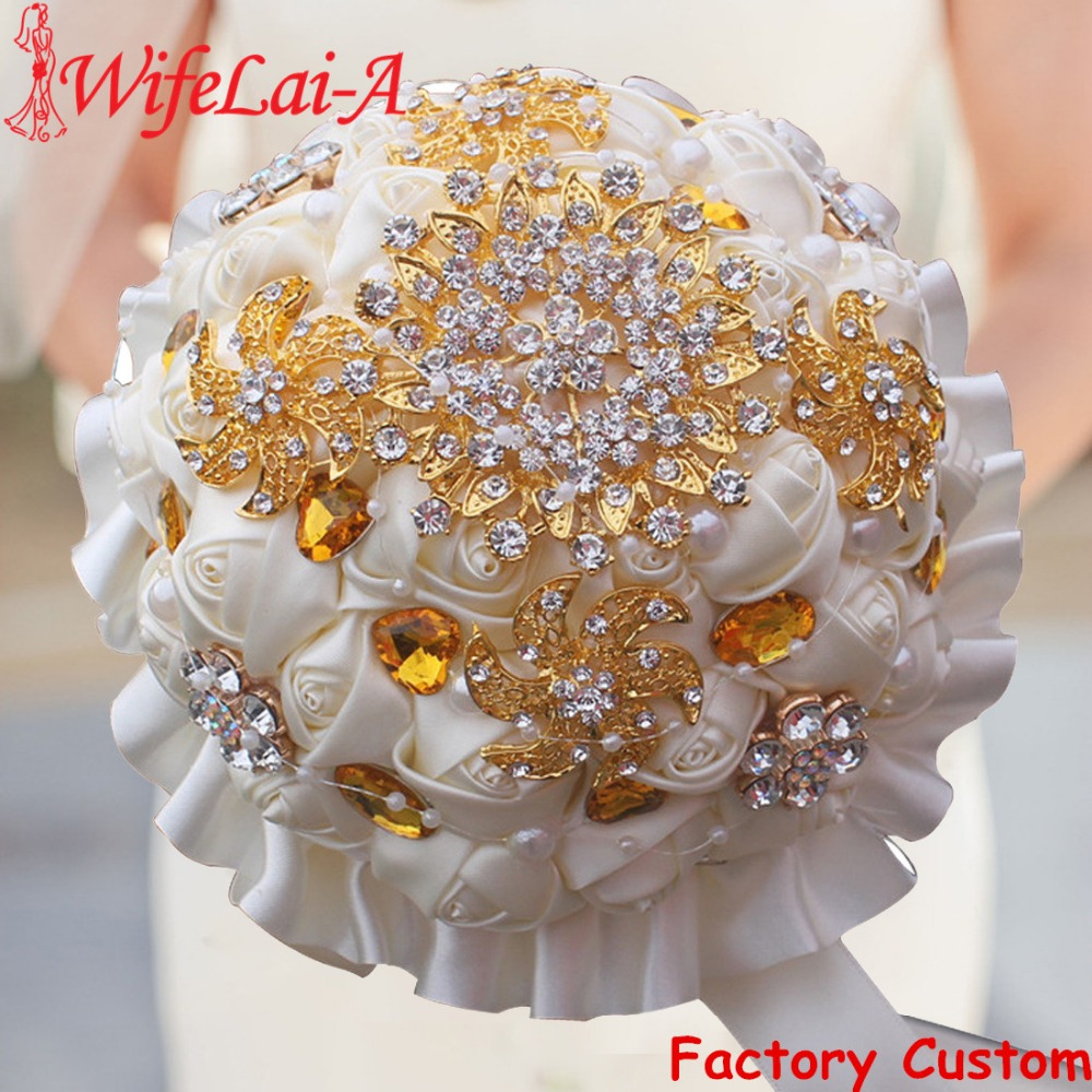 WifeLai A 1Piece Gold Crystal Ivory Cream Rose Brooch Wedding Bouquet Mariage BridalBouquet Pearl Flowers buque