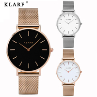 Luxury Brand KLARF Quartz Watch Women Gold Steel Bracelet Watch 30M Waterproof Rhinestone Ladies Dress Watch