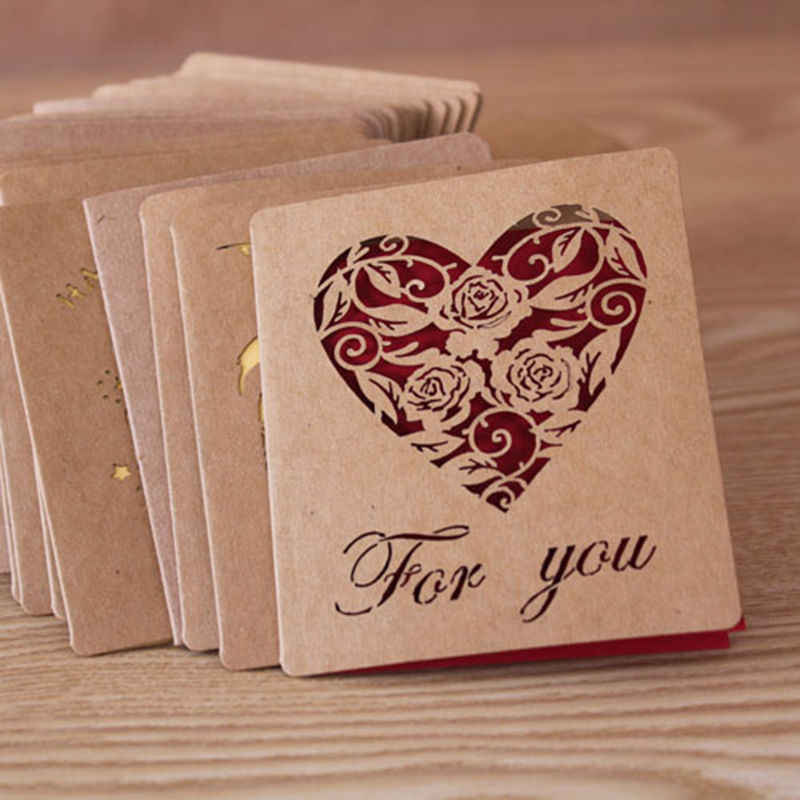 Good Folding Kraft Paper Greeting Card Best Wishes Happy Birthday Blessing Greeting Message Card Event & Party Supplies