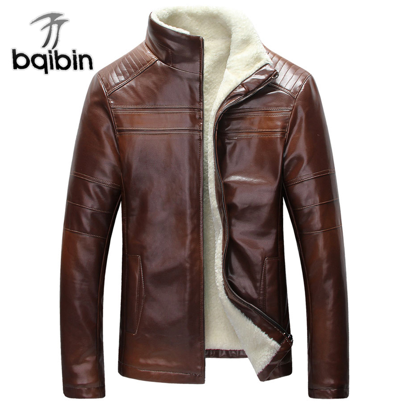 Mens Fur Lined Leather Jacket In Stock Real Picture Winter Warm Mens Fur Leather Jackets Overcoats Plus Size