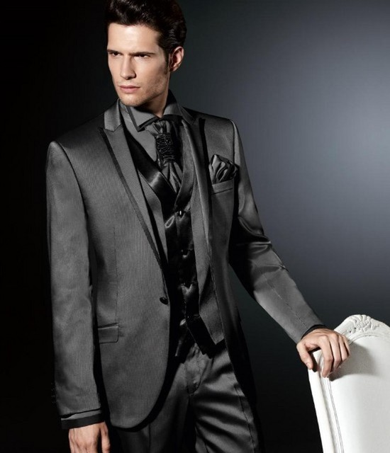Gris oscuro 3 unidades boda Trajes para los hombres (chaqueta + Pantalones  + Vest + 0cd5d0031e6