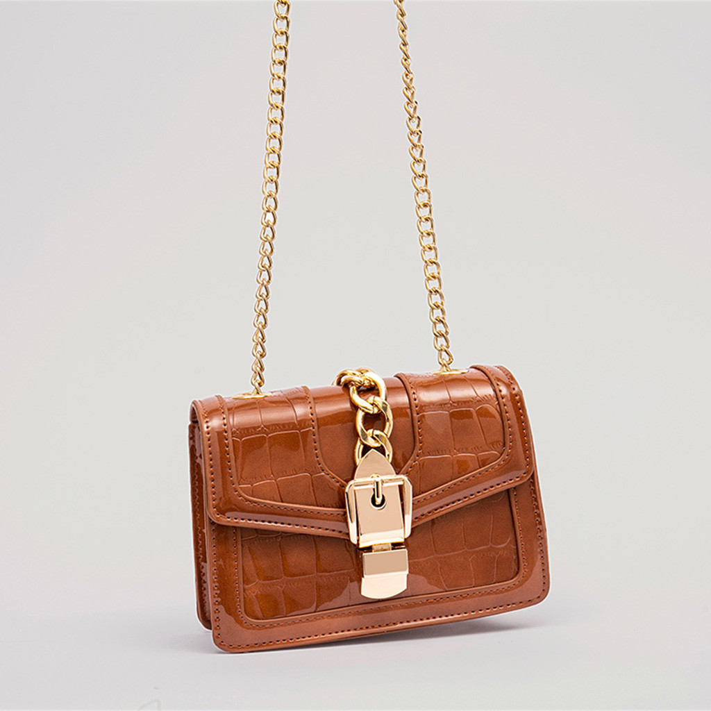 MUQGEW Women's Bag Small Square Flap Lether Alligator Casual Chain Lock Sewing Crossbody Shoulder Messenge Bag bolsa feminina