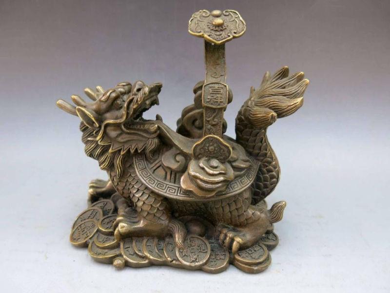 Statue en laiton de tortue de Dragon de richesse de Fengshui ruyi de cuivre de la chineStatue en laiton de tortue de Dragon de richesse de Fengshui ruyi de cuivre de la chine