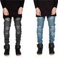 2015 de alta de la calle mens washed jeans motorista de la motocicleta slim fit negro gris azul moto denim pantalones joggers para flaco hombres