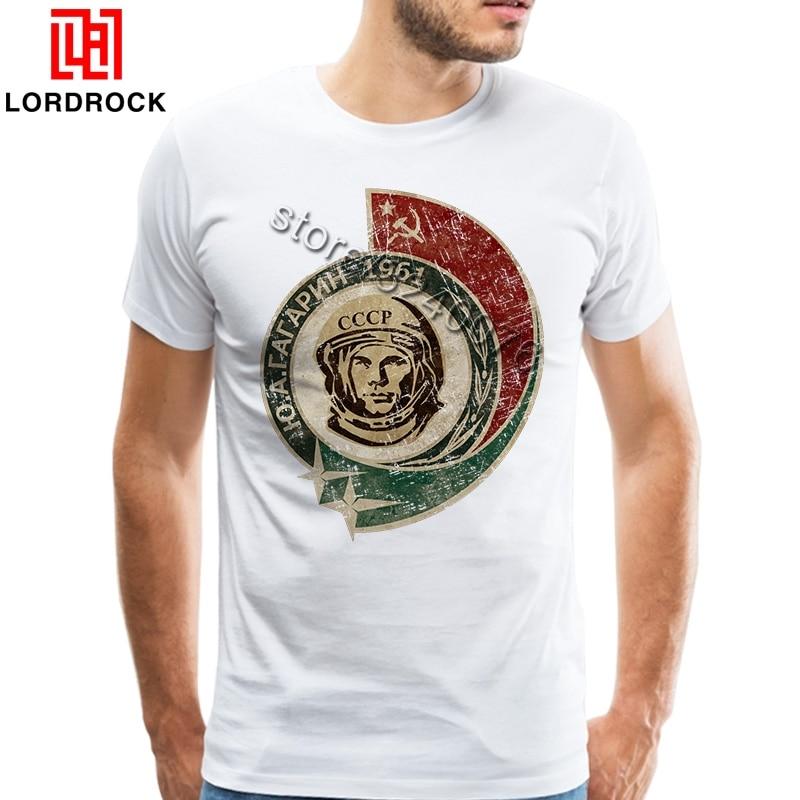 1961 Vintage   T     Shirt   Mens Yuri Gagarin   Shirts   Casual   T  -  shirt   Short Sleeve Russian CCCP Tshirt Soviet Cosmonaut Summer Tops Tees