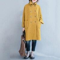 Women Wool Long Coat Plus Size Thicken Outerwear Autumn Winter Female Elegant Lady Loose Vintage Cotton Clothing 2018 LQ446