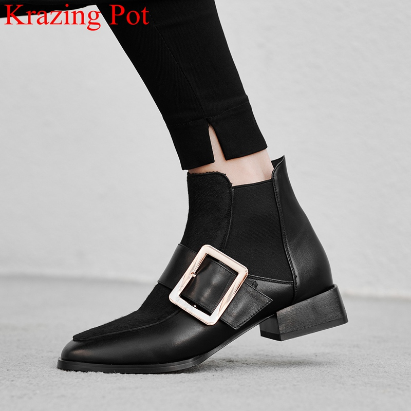 2019 superstar round toe buckle metal genuine leather women ankle boots motorcycle boots office lady warm