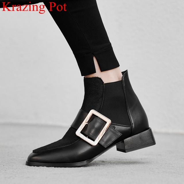 2019 siêu sao Mũi Tròn Khóa Kim Loại da thật chính hãng da nữ cổ chân giày Xe Máy Công Sở ấm thương hiệu mùa đông Giày L39
