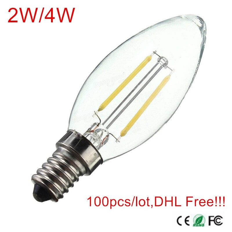 100 pcs/lot, DHL/Fedex livraison gratuite!!! LED ampoule à Filament E12/E14 AC220V 230 V 240 V 2 W/4 W LED lampes à ampoule spot éclairage intérieur