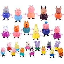 25 pçs/set Peppa pig George amigo Family Pack Mãe Pai Pelucia Anime Brinquedos Figura de Ação Original conjunto de presente do Menino da menina