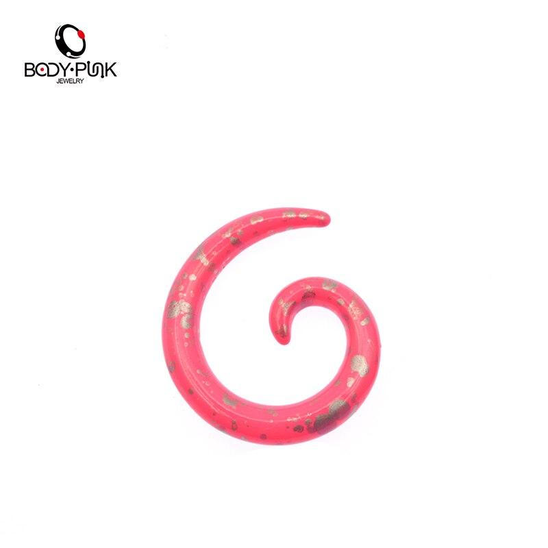 Тела панк 1 пара Розовый акриловые Спираль улитки уха Вилки Плоть туннеля Улитка Expander пирсинг украшения Бесплатная доставка SPA 003 PA