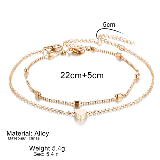 Simple Heart Female Anklets Barefoot Crochet Sandals Foot Jewelry 5