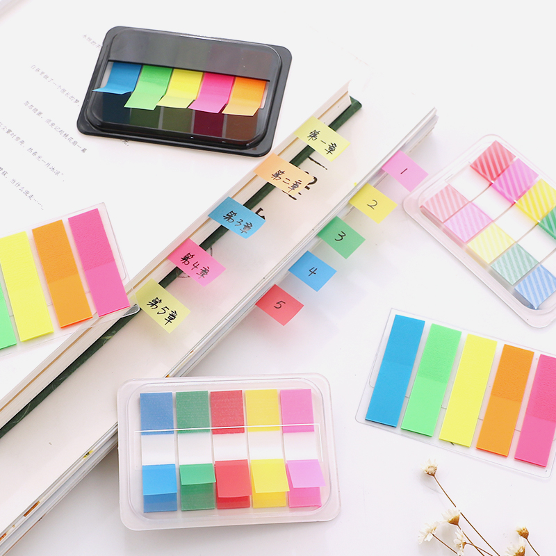 Neon Page Markers Colored Index Tabs, Fluorescent Sticky Note For Page Marker