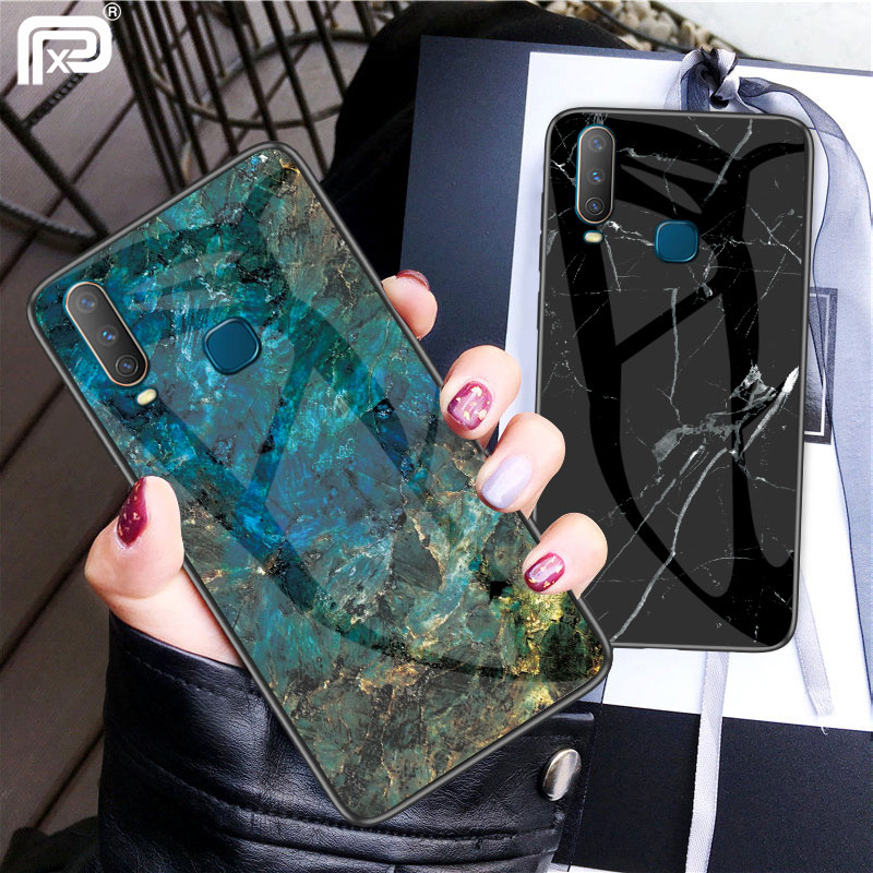 huge selection of 54c4b 3c9f1 US $2.92 22% OFF|For VIVO Y17 Case Marble Pattern Smooth Tempered Glass  Back Cover For VIVO Y3 Phone Case Fundas-in Fitted Cases from Cellphones &  ...